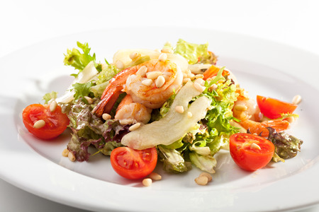 pine nuts: Salad with Shrimps, Pear and Pine Nuts Stock Photo