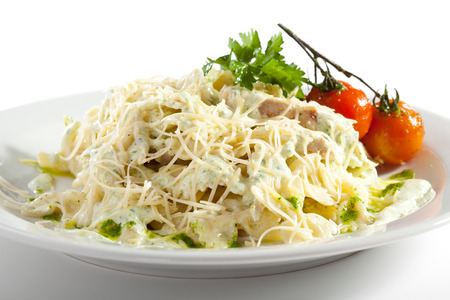 pasta salad: Pasta with Fried Fillet of Chicken and Parmesan Cheese