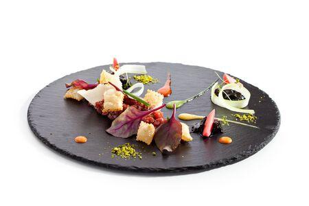 black stone: Tuna Tartare with Various Dip and Crispy Stock Photo