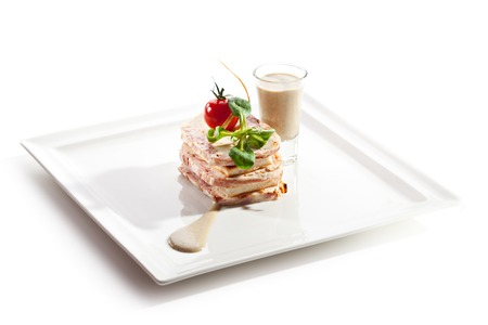 spread: Bacon Wrapped Pate with Bread Toast and Mushrooms Sauce