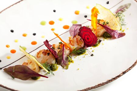 scallop: Sea Scallop with Fried Vegetables Chips