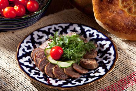 smoked: Kazy - Traditional Sausage-like food made from Horseflesh Stock Photo