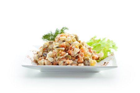 okroshka: Vegetables with Meat Salad. Garnished with Dill