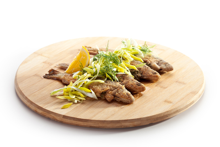 fried food: Deep Fried Fish with Lemon and Parsley