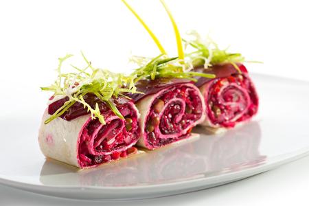 pita: Beetroot Salad in Pita Wrap Stock Photo