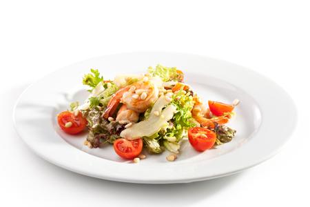 pinoli: Salad with Shrimps, Pear and Pine Nuts Archivio Fotografico