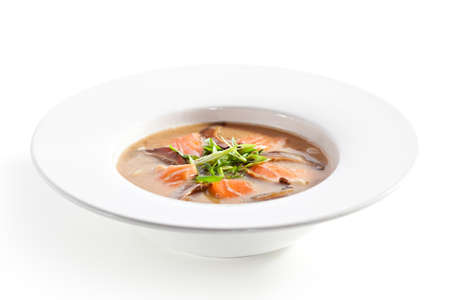mushroom soup: Japanese Cuisine - Miso Soup with Salmon and Mushrooms Stock Photo