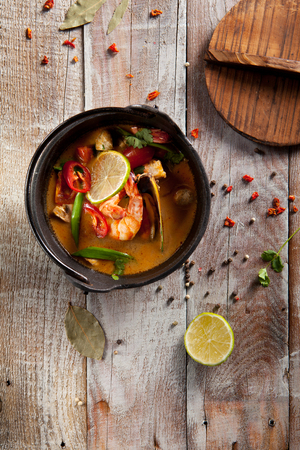 Tom Yum - Thai Spicy and Sour Soup Stock Photo
