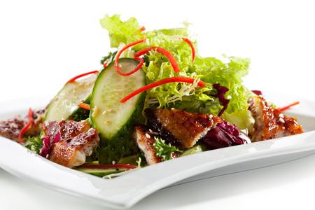 ensalada de frutas: Salad with Smoked Eel and Vegetables Foto de archivo