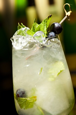 lime juice: Cocktail with Vodka and White Wine, Grapes, Various Syrup, Lime Juice, Apple Juice and Mint