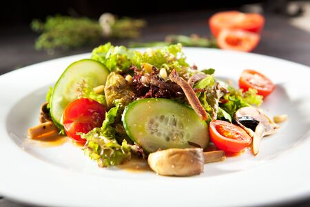pine nut: Beef Tongue Salad with Mushrooms and Pine Nut Dressing Stock Photo