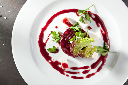 goat cheese: Beet and Goat Cheese Salad Stock Photo