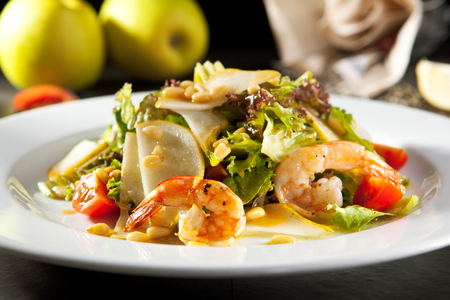 appetizers: Grilled Shrimp and Pear Salad with Pine Nut Dressing