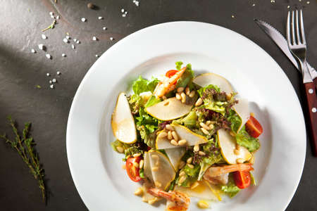 pine nut: Grilled Shrimp and Pear Salad with Pine Nut Dressing