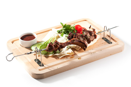 baked: BBQ and Grilled Mutton with Vegetables Stock Photo