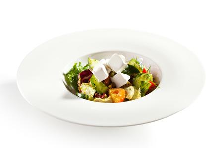 ensalada de verduras: Ensalada griega - Queso Feta, tomates, hojas de ensalada, de oliva y verduras