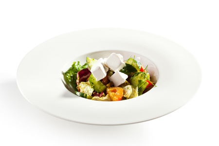 vegetable salad: Greek Salad - Feta Cheese, Tomatoes, Salad Leaves,  Olive and Vegetables Stock Photo
