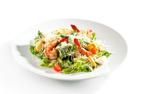 vegetable salad: Caesar Salad with Grilled Shrimp and Parmesan Cheese