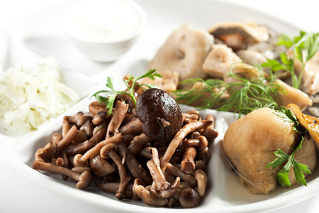 sour cream: Salted Mushrooms with Herbs and Sour Cream Stock Photo