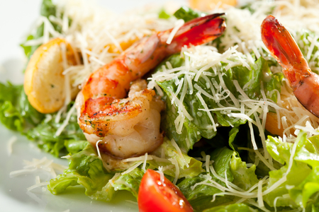 seafood salad: Caesar Salad with Grilled Shrimp and Parmesan Cheese