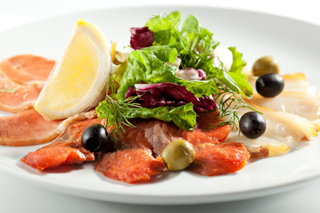 cured: Cured FIsh with Lemon and Salad Leaf