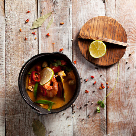 yum: Tom Yum - Thai Spicy and Sour Soup Stock Photo