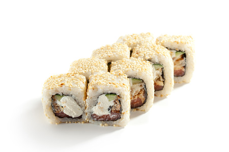 ouside: Maki Sushi - Roll made of Smoked Salmon, Cream Cheese, Cucumber inside. Sesame ouside