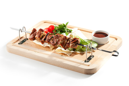 Grilled Pork Skeweres with Vegetables and Sauce Reklamní fotografie