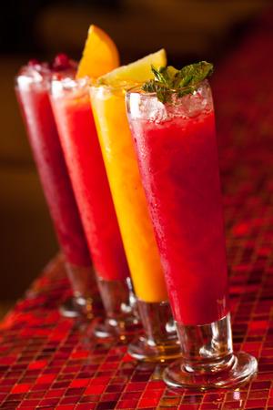 non alcoholic: Homemade Lemonades on Bar Stock Photo