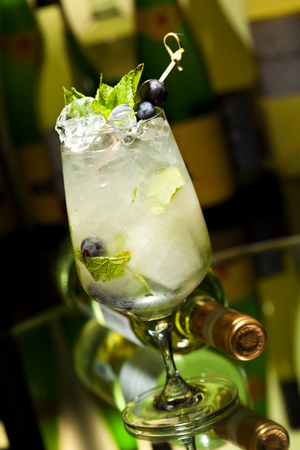 jarabe: Cocktail with Vodka and White Wine, Grapes, Various Syrup, Lime Juice, Apple Juice and Mint