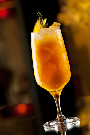 fruits juice: Rosemary Cocktail - Golden Rum, Rosemary, Fruits Juice and Syrup