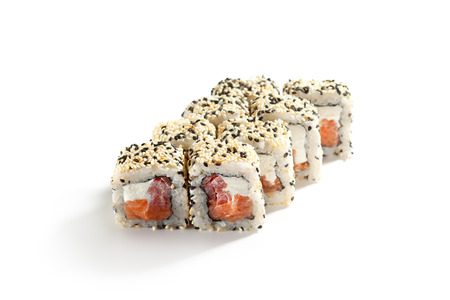 ouside: Maki Sushi - Roll made of Smoked Salmon, Cream Cheese and Pepper inside. Sesame ouside