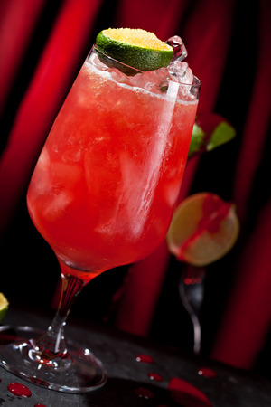 grapefruit juice: Zombie Cocktail - Dark and Light Rums, 151-proof Rum and Various Syrup, Grenadine, Grapefruit Juice, Lime Juice, Absinth and Cane Sugar Stock Photo