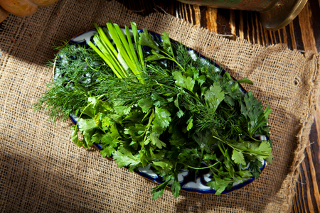 green herbs: Spring Garden Fresh Green Herbs DIsh Stock Photo
