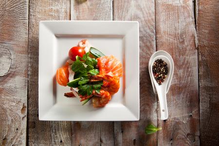seafood salad: Seafood Salad on Wooden Background