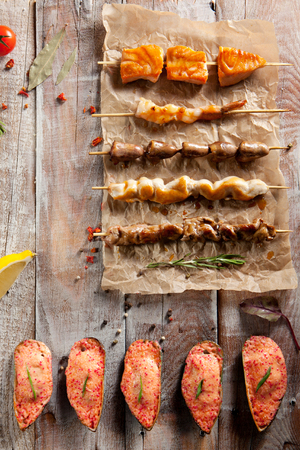 poultry: Grilled Tasty Foods and Baked Mussels on Parchment