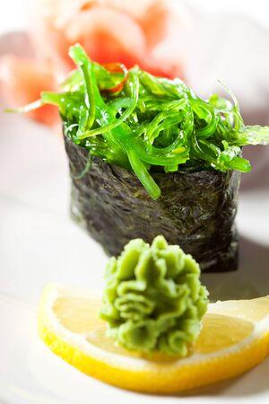 wasabi: Chuka Seaweed  Gunkan Sushi Garnished with Ginger and Wasabi