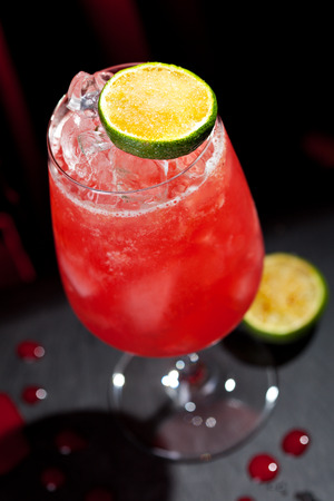 grenadine: Zombie Cocktail - Dark and Light Rums, 151-proof Rum and Various Syrup, Grenadine, Grapefruit Juice, Lime Juice, Absinth and Cane Sugar Stock Photo