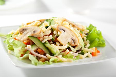 leaf vegetable: Mushroom and Vegetable Salad Dressing with Salad Leaf Stock Photo