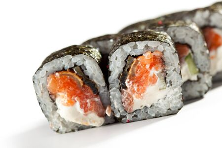 cream cheese: Roll made of Fresh Salmon, Smoked Eel and Cucumber inside. Nori outside