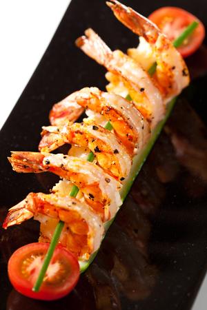 prawn: Fried Prawns Dish with Cherry Tomato