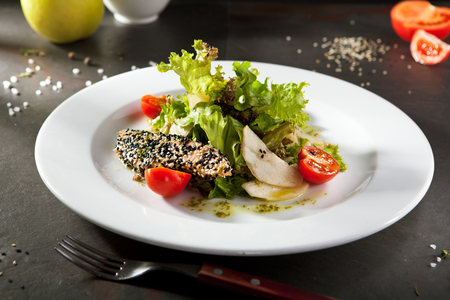 fish sauce: Salmon and Pear Salad with Sesame Dressing Stock Photo