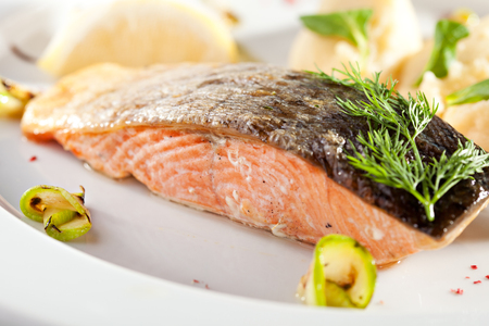 white rice: Grilled Salmon with Mashed Potato