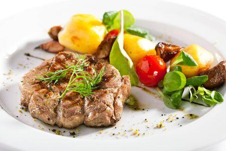 Pork with Fried Potato, Mushroom and Vegetables