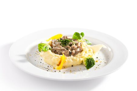 beef stroganoff: Beef Stroganoff Served with Mashed Potato