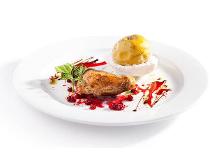 sauce dish: Duck Meat with Berries Sauce and Stewed Apple