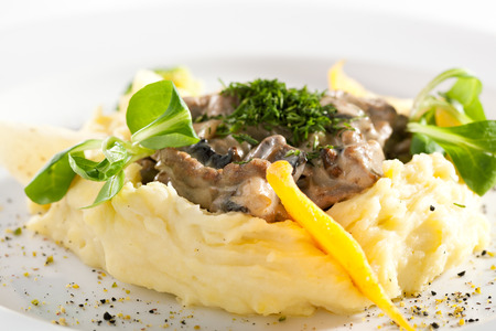 Beef Stroganoff Served with Mashed Potato Imagens - 57197301
