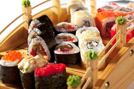 japanese cuisine: Japanese Cuisine - Sushi Set Stock Photo