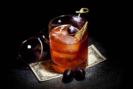 cane sugar: Gangsta Cocktail - Calvados with Dark Rum, Cane Sugar and Bitter