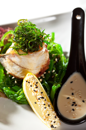 japanese cuisine: Japanese Cuisine - Chuka Seaweed Salad and Eel with Nuts Sauce. Served with Lemon and Sesame